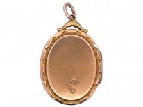 Edwardian 9ct Gold Back & Front Locket with Pearl & Garnet Motif