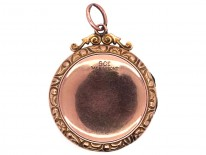 Edwardian 9ct Gold Back & Front Round Locket with Swallow Motif
