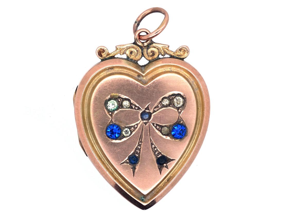 Edwardian 9ct Gold Back & front Heart Locket with Paste Set Bow Motif