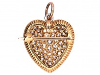 Edwardian 18ct Gold, Platinum & Diamond Heart Pendant / Brooch