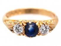 Edwardian 18ct Gold Three Stone Sapphire & Diamond Ring