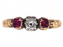 Georgian 18ct Gold Ruby & Diamond Ring
