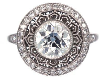 Art Deco Platinum & Diamond Target Ring