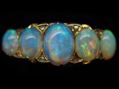 Victorian Five Stone Opal Carved Half Hoop Ring