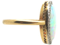 Belle Epoque 18ct Gold, Oval Diamond & Opal Cluster Ring