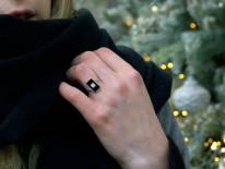 Art Deco 18ct Gold & Platinum, Onyx & Diamond Rectangular Ring