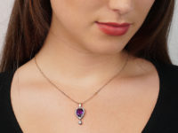 Edwardian Amethyst & Diamond Pear Shaped Pendant with Diamond Drop