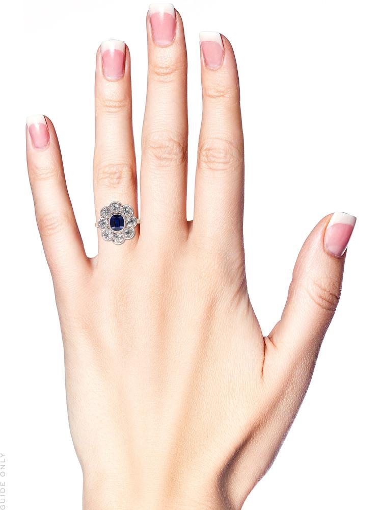 Edwardian 18ct Gold & Platinum, Large Sapphire & Diamond Cluster Ring