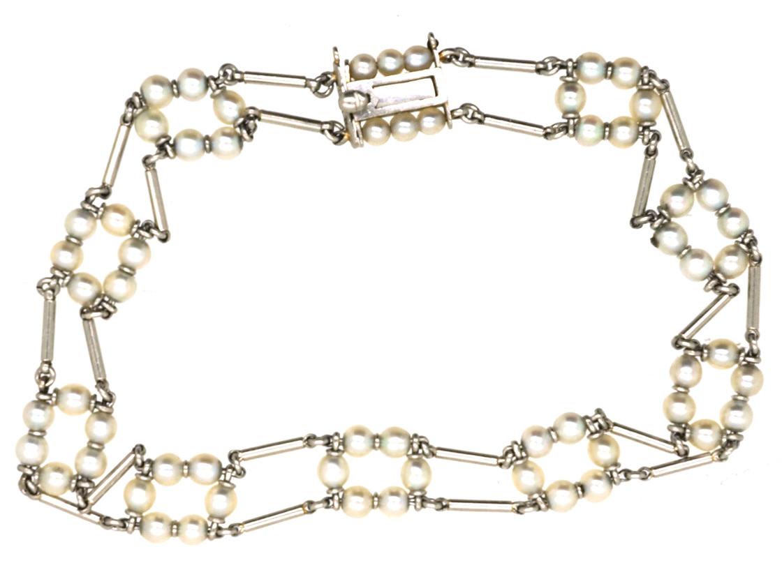 Edwardian Platinum & Natural Pearl Bracelet