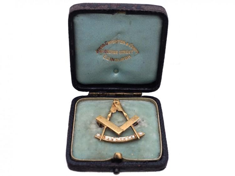 Victorian 15ct Gold & Natural Split Pearl Masonic Brooch in Original Case