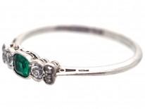 Edwardian Platinum, Emerald & Diamond Ring
