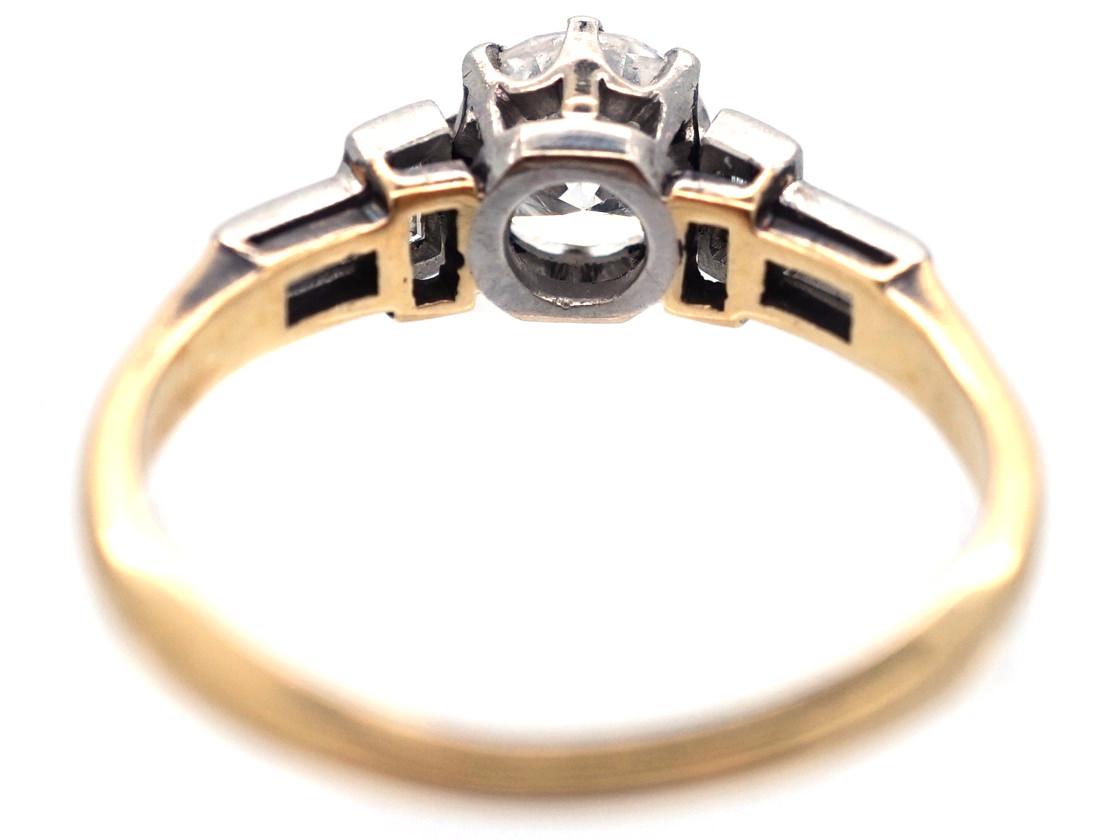 Art Deco Solitaire Diamond Ring with Baguette Diamond Shoulders
