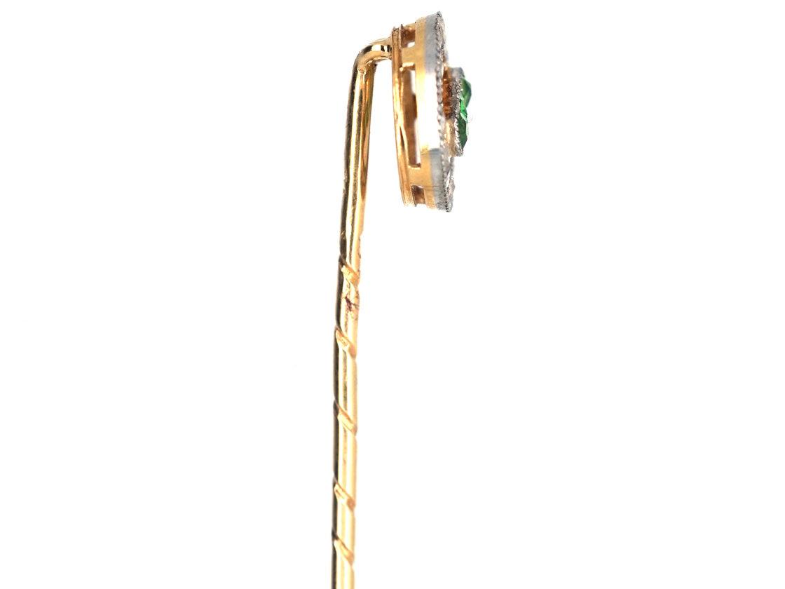 Edwardian 15ct Gold, Green Garnet & Rose Diamond Circle Tie Pin