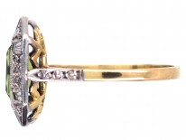 Art Deco 18ct Gold & Platinum, Rectangular Peridot & Diamond Ring