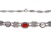 Arts & Crafts  Celtic Design Silver, Carnelian & Blister Pearl Necklace