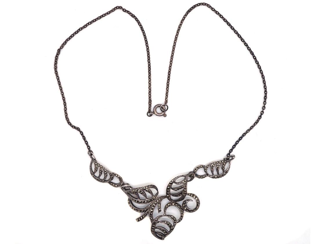 Silver & Marcasite Art Deco Leaf Necklace