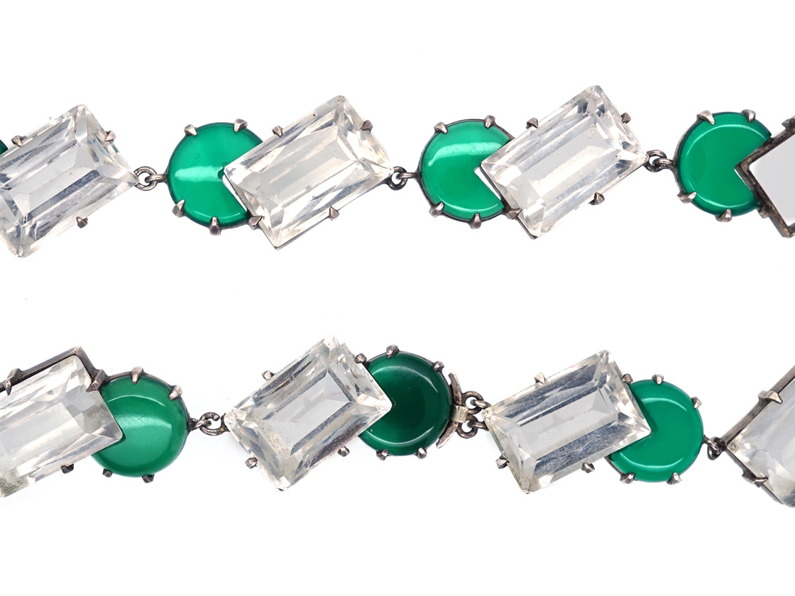 Art Deco Silver, Rock Crystal & Green Chalcedony Necklace