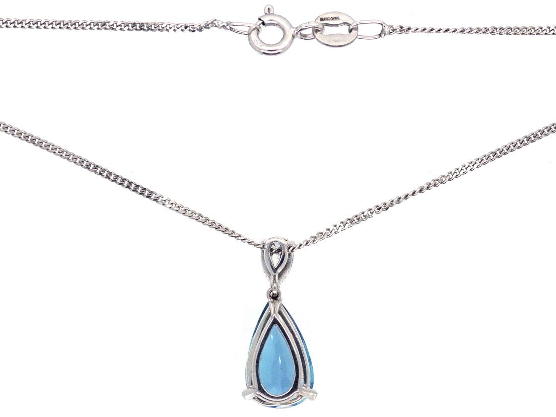 Aquamarine & Diamond Pendant on 18ct White Gold Chain