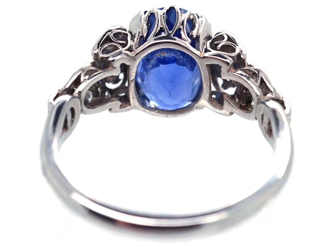Ceylon Sapphire, Platinum & Diamond Ring