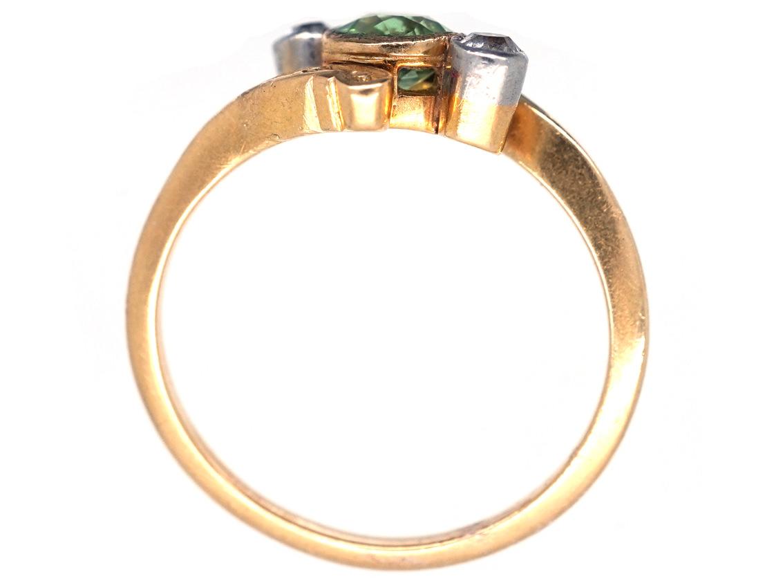 Edwardian 18ct Gold, Peridot & Diamond Crossover Ring