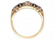 Victorian 18ct Gold, Diamond & Sapphire Five Stone Ring