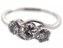 Platinum & Diamond Three Stone Crossover Ring