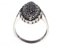 Art Deco Oval Swirl Design Silver & Marcasite Ring