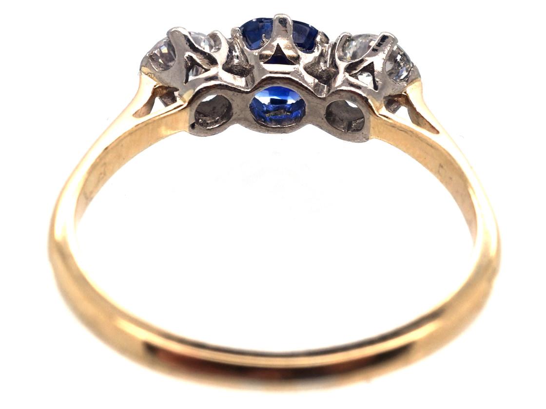 Diamond & Sapphire Three Stone Ring