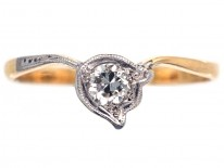 Edwardian 18ct Gold, Platinum & Diamond Lily of the Valley Flower Ring