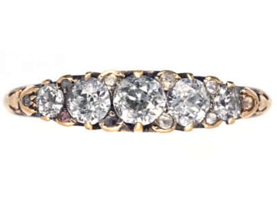 Victorian 18ct Gold Carved Half Hoop Diamond Ring