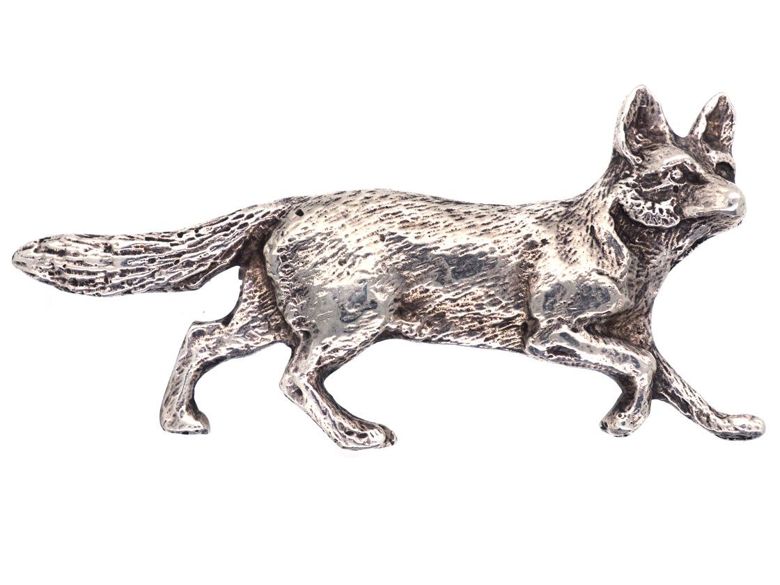 Silver Engraved Fox Brooch