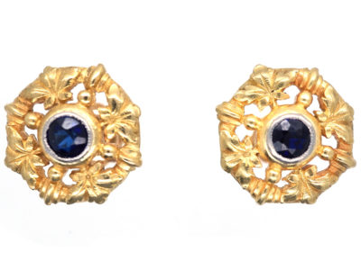 French 18ct Gold ​& Sapphire Belle Epoque Earrings