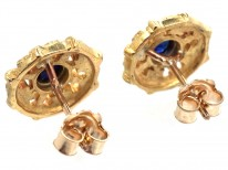 French 18ct Gold & Sapphire Belle Epoque Earrings