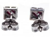 18ct White Gold Ruby & Diamond Square Earrings