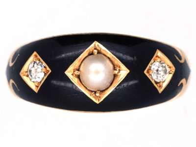 Victorian 18ct Gold, Diamond, Natural Split Pearl & Enamel Mourning Ring