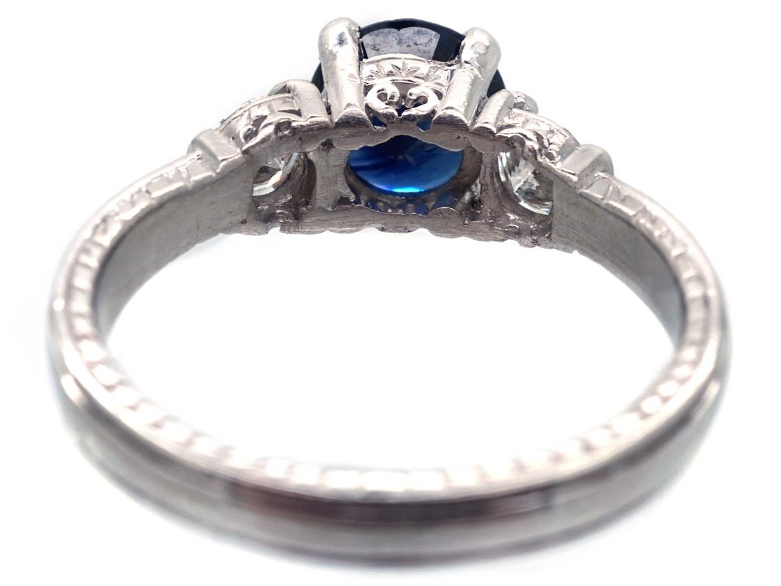 Platinum, Sapphire & Diamond Three Stone Ring