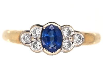 18ct Gold, Ceylon Sapphire & Diamond Ring