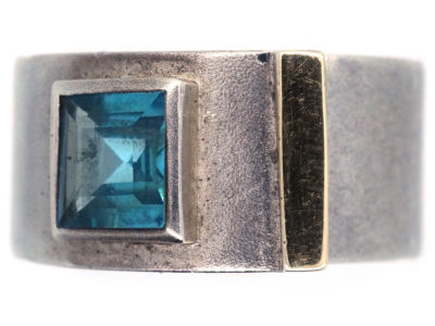 Silver & Blue Stone Modernist Buckle Ring