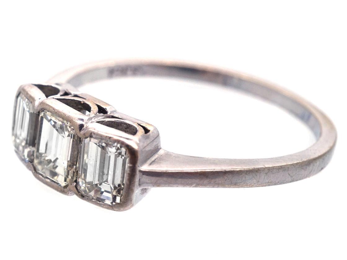 Art Deco 18ct White Gold Emerald Cut Three Stone Diamond Ring