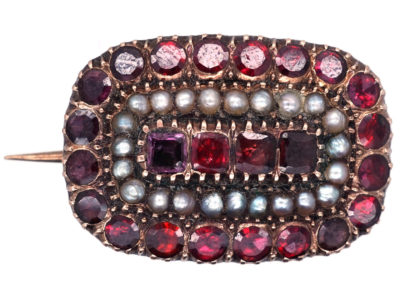 Georgian Almandine Garnet & Natural Split Pearl 9ct Gold Mourning Brooch
