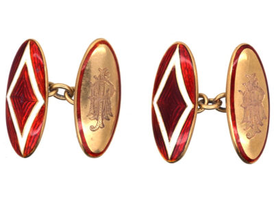 Edwardian 18ct Gold & Red Enamel Cufflinks
