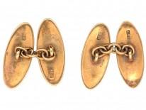 Edwardian 18ct Gold & Red Enamel Cufflinks