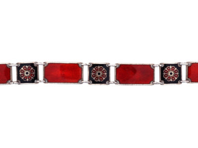 Silver Red & Back Enamel Bracelet by David Andersen