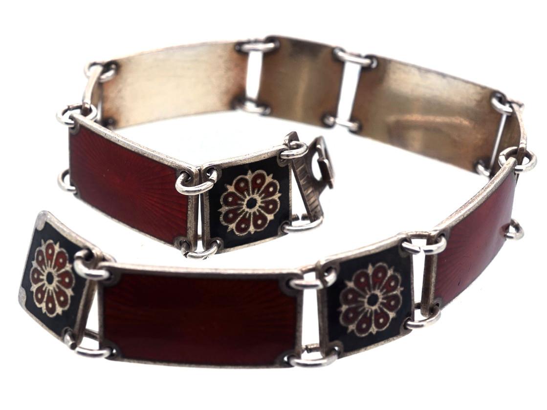 Silver Red & Back Enamel Bracelet by David Andersen