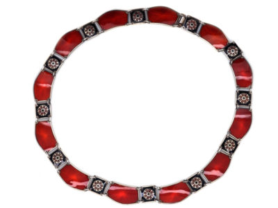 Silver, Red & Black Enamel Collar Attributed to David Anderson