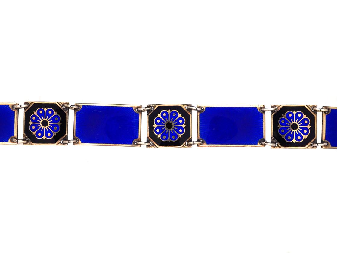 David Andersen Silver & Blue Enamel Bracelet