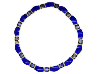 David Andersen Silver & Blue Enamel Necklace