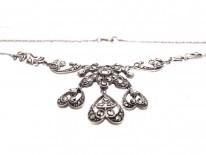 Art Deco Silver & Marcasite Triple Drop Necklace