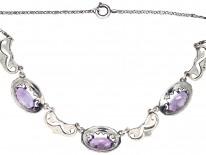 Art Deco Silver, Amethyst & Marcasite Necklace