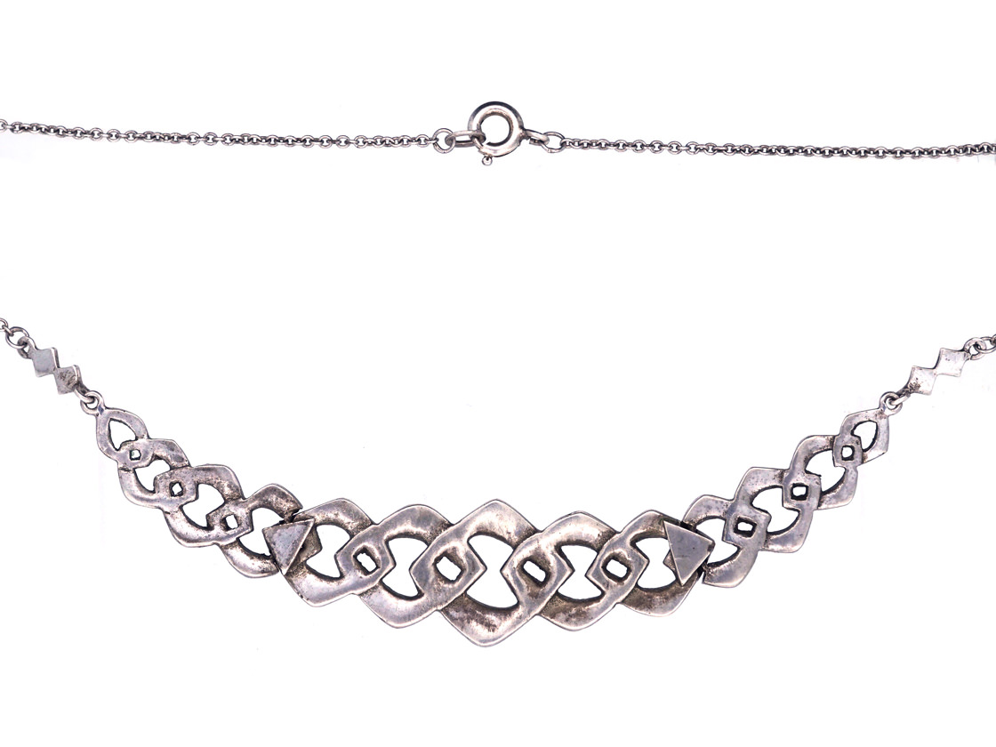 Art Deco Silver & Marcasite Articulated Ovoid Design Necklace